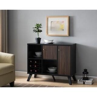 Wooden Wine Cabinet With Storage, Black And Dark Walnut Brown