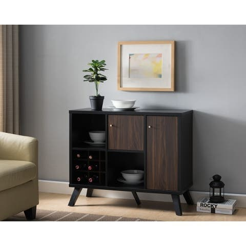 Wooden Wine Bar Storage Cabinet with 2 door cabinet and Storage Cubes, Black And Brown - 15.25x36x30
