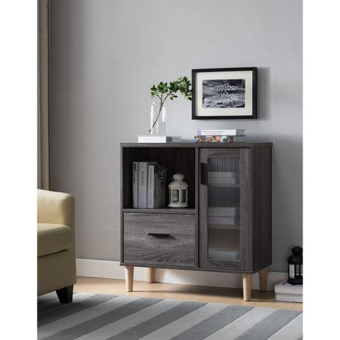Wooden File Cabinet With Spacious Storage, Distressed Gray