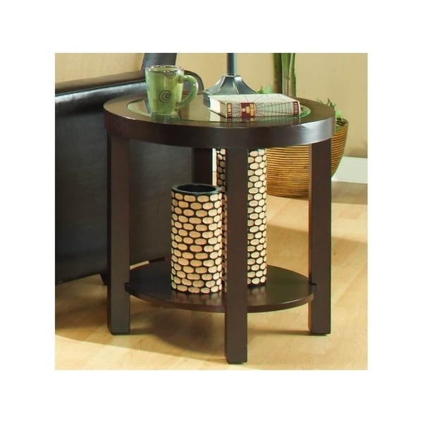 Wooden Round End Table With Gl Inserted Top And Bottom Shelf Espresso Brown