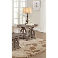 Acacia Veneer End Table With Bold Curves, Brown