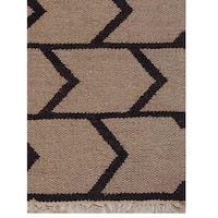 Hand Woven Flat Weave Kilim Wool Area Rug Contemporary Cream Charcoal