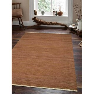Hand Woven Flat Weave Kilim Woolen Area Rug Contemporary Light Brown