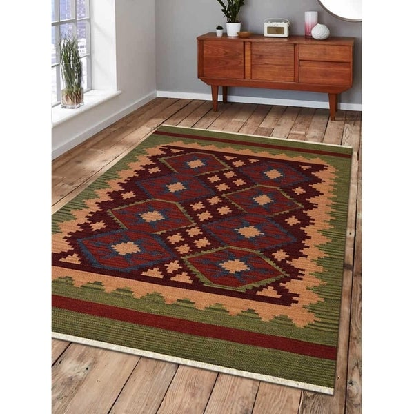 Hand Woven Flat Weave Kilim Wool Area Rug Contemporary Burgundy Olive