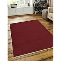 Hand Woven Flat Weave Kilim Wool Area Rug Contemporary Dark Red