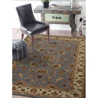 Hand Tufted Wool Area Rug Oriental Blue White