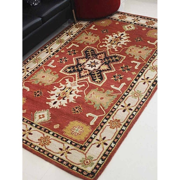 Shop Beige Wool Hand Knotted Oriental Persian Area Rug 6: Shop Hand Tufted Wool Area Rug Oriental Red Beige