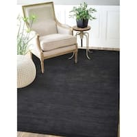 Hand Knotted Loom Wool Area Rug Solid Charcoal