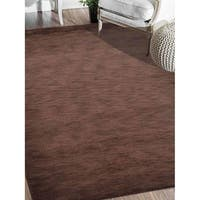 Hand Knotted Loom Wool Solid Area Rug Brown