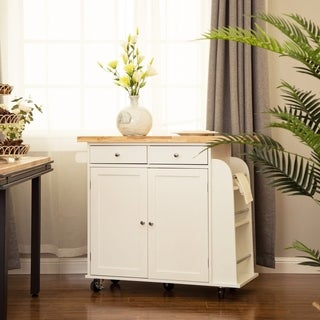 Glitzhome White Kitchen Island Cart with Rubber Wooden Top
