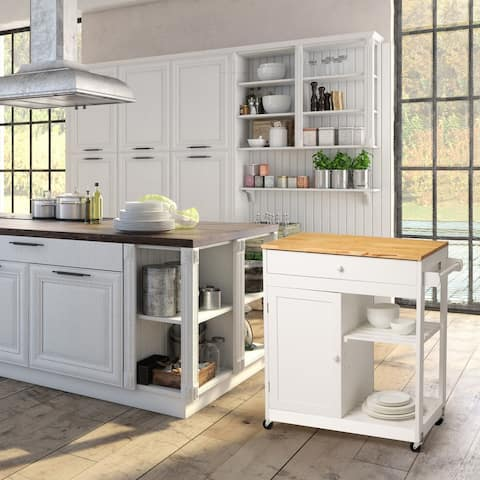 Glitzhome White Kitchen Island Kitchen Cart with Rubber Wooden Top