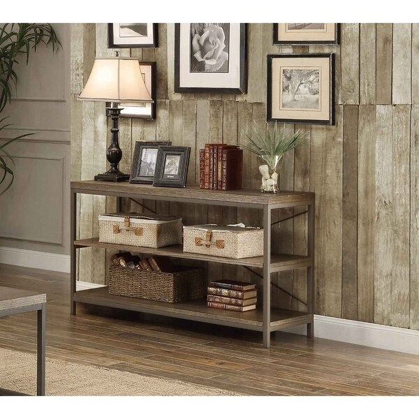 Rectangular Sofa Table In Metal Frame With Grey Weathered Wood And Shelves, Grey