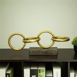 "Glitzhome Metal Ring Chain Table Decor Sculpture - 17""L"