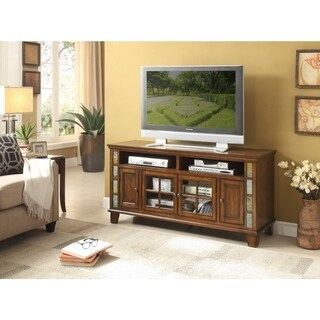 Spacious Wooden Sofa Table Or TV Stand With Slate Inset, Cherry Brown
