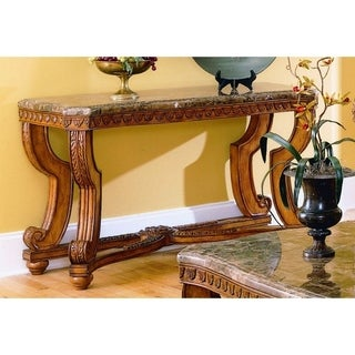 Wood Sofa Table With Marble Tabletop, Brown