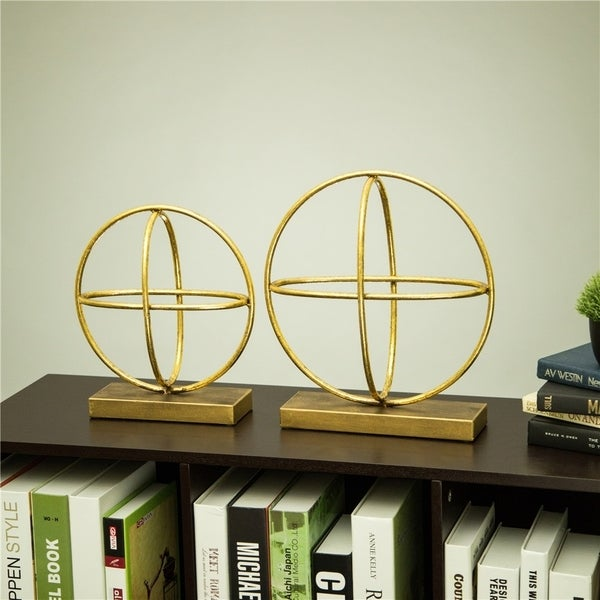 Glitzhome Glam Accent Brass Painted Sphere Table Decor