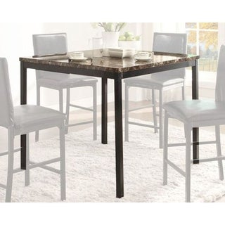 CoUnter Height Table In Metal Frame With Faux Marble Top, Black