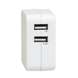 Offex 2 Port USB Wall Travel Charger, 3.4 Amps for Powering Smart Phones, Tablets, and Other USB Powered Devices - White