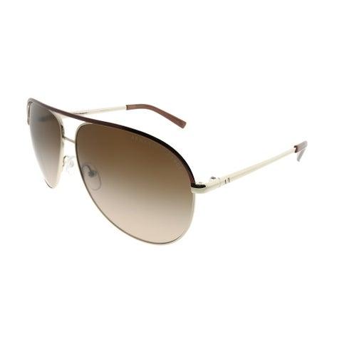 Armani Exchange Aviator AX 2002 601013 Unisex Light Gold Dark Brown Frame Dark Brown Gradient Lens Sunglasses