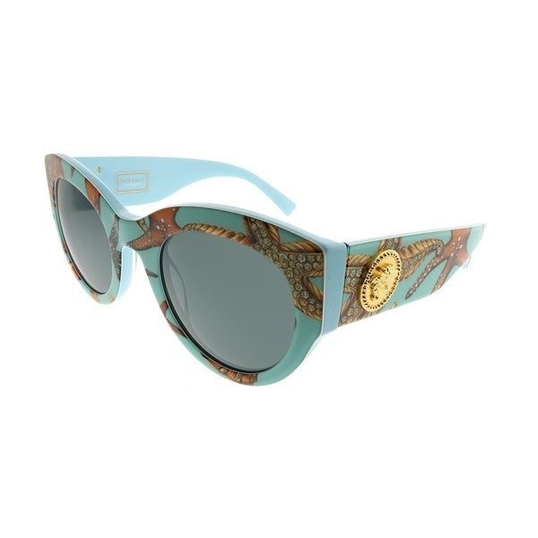 91bf893c40 Versace Cat-Eye VE 4353 528487 Women Sea Azure Frame Grey Lens Sunglasses