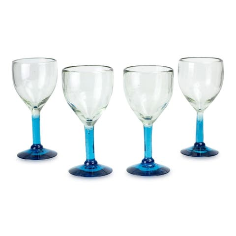 """Handmade Caribbean Mirage Blown Glass Goblets Set of 4 Glasses (Mexico) - 3.5"""" x 7"""""""