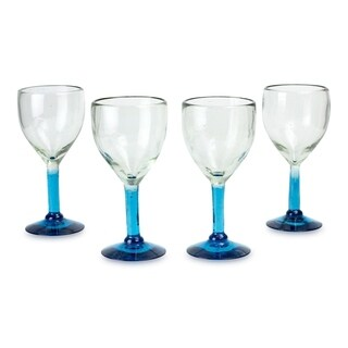 Novica Caribbean Mirage Blown Glass Goblets ( Set of 4 ) - Mexico