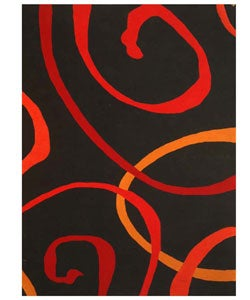 Hand-tufted Contempo Black Wool Rug (8' x 10'6)