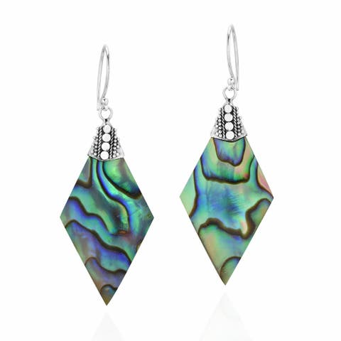 Handmade Bali Adorned Rhombus Shape Rainbow Abalone .925 Silver Dangle Earrings (Thailand)