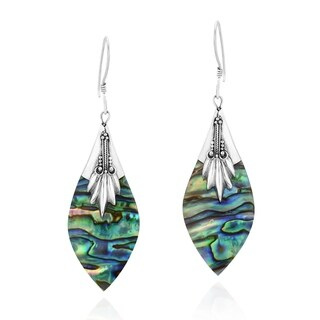 Handmade Ornate Abalone Shell Pointy Oval Sterling Silver Dangle Earrings (Thailand)