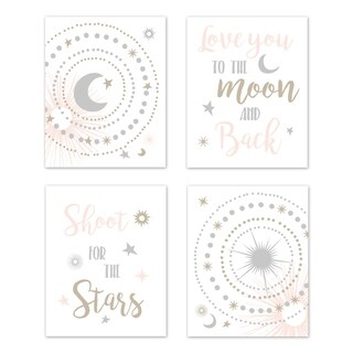 Link to Sweet Jojo Designs Blush Pink Gold Grey and White Celestial Collection Wall Decor Art Prints (Set of 4) - Star and Moon Similar Items in Wall Decor