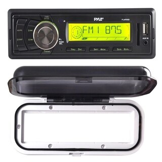 Pyle PLMR86B Stereo Radio Headunit Receiver, USB Flash & SD Card Readers, Remote Control with Water Radio Shield (White)