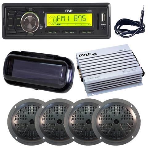 Dual 5.25'' Waterproof Marine Speakers, 2-Way Full Range Stereo Sound(4), 100 Watt,Radio Headunit Receiver, Aux (3.5mm) MP3
