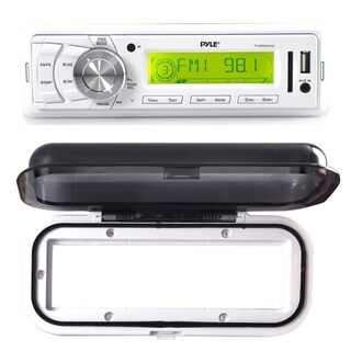 Pyle Stereo Radio Headunit Receiver, Aux (3.5mm) MP3 Input, USB Flash & SD Card Readers with White Water Resistant Radio Shield