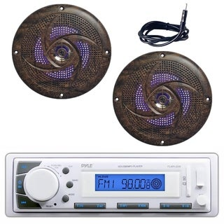Pyle PLMR20W Marine Stereo Radio Headunit Receiver, 240W Camo Style Speaker Pair with Built-in LED Lights, Antenna