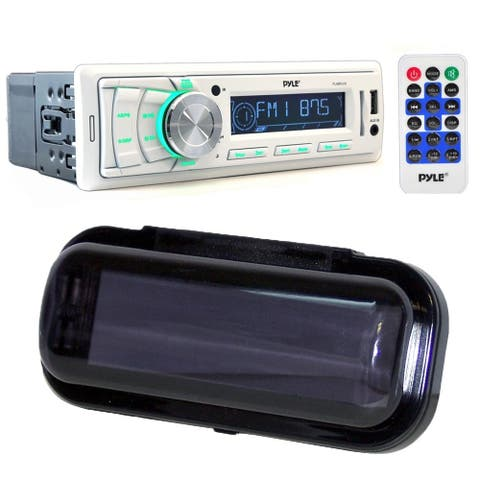 Pyle PLMR88W Stereo Radio Headunit Receiver, Aux (3.5mm), USB Flash & SD Card Readers with Water Resistant Radio Shield