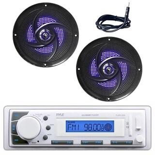 Pyle PLMR20W Marine Stereo Radio Headunit Receiver, Pair of 4-inch 100 Watt Marine Speakers with Built-in LED Lights, Antenna