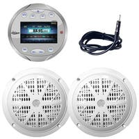 "Lanzar AQR82S Bluetooth Marine Digital Media Receiver AM/FM Radio, Round/Circle, Silver Marine Antenna, 4"" Dual Cone Speakers"