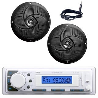 "Pyle PLMR20W Marine Stereo Radio Headunit Receiver, pair of 5.25"" 180W Slim Style Waterproof Rated Marine Speakers, Antenna"