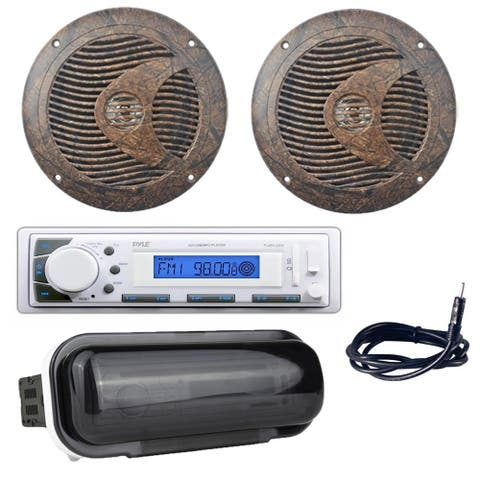 """Pyle Boat Radio Receiver w/ Dual 6.5"""" 150W Marine Speakers, Antenna, Dust Cover"""