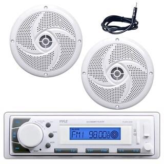 "Pyle PLMR20W Marine Stereo Radio Headunit Receiver, Pair of 4"" 100W Waterproof Rated Marine Speakers, Antenna wire"