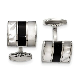 Chisel Stainless Steel Polished Black Semi-Precious Stone and Mother of Pearl Cuff Links