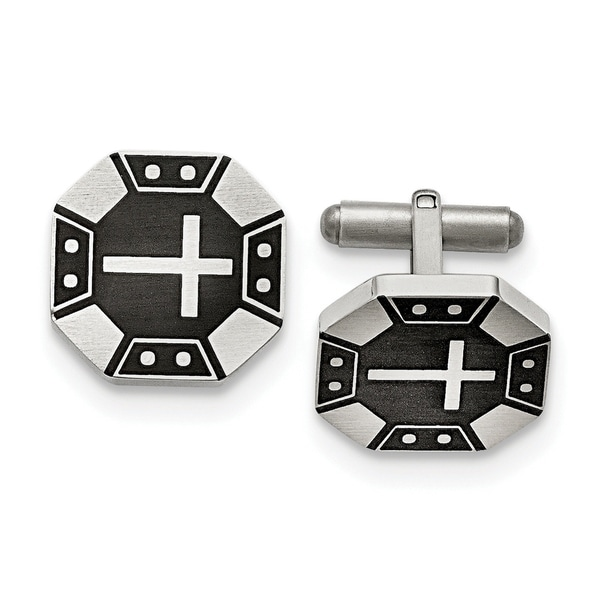 56fc5a5116f45 Shop Chisel Stainless Steel Matte Black IP-plated Cross Cuff Links - On  Sale - Free Shipping Today - Overstock.com - 23476872