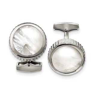 Stainless Steel Polished Studded Round Mother of Pearl Cuff Links