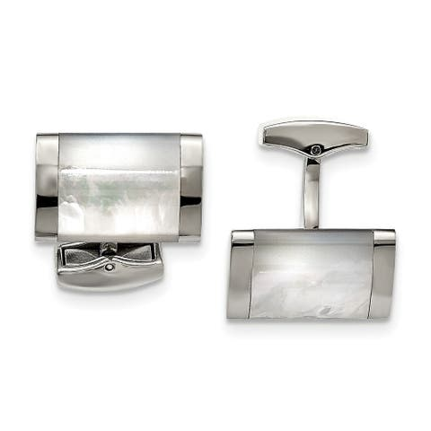 Chisel Stainless Steel Polished Mother of Pearl Cuff Links