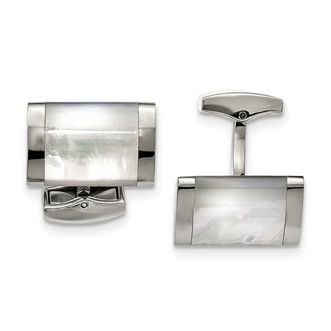 Chisel Stainless Steel Polished Men's Mother of Pearl Cuff Links