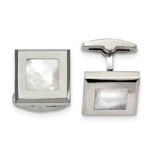 Chisel Stainless Steel Polished Mother of Pearl Men's Cuff Links