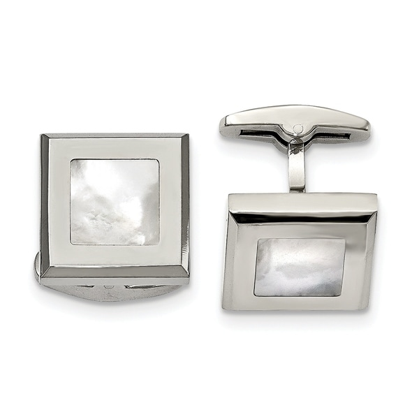 155fceeba9 Shop Chisel Stainless Steel Polished Mother of Pearl Cuff Links - Free  Shipping Today - Overstock.com - 23476898