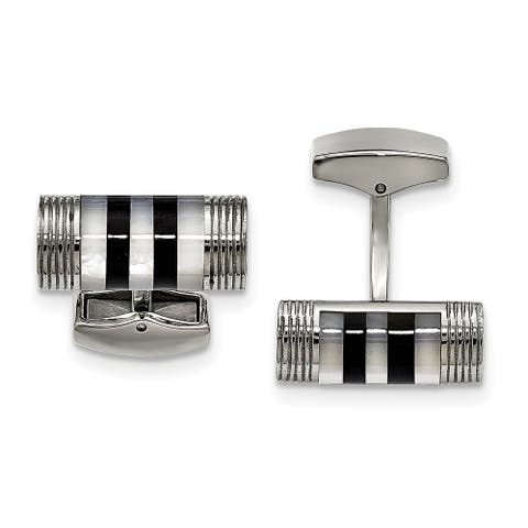 Chisel Stainless Steel Polished Mother of Pearl and Onyx Cuff Links