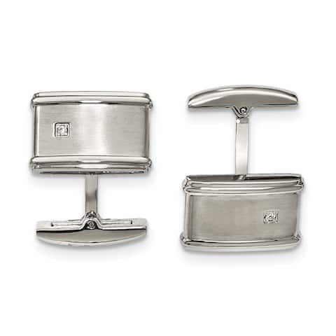 Chisel Stainless Steel Brushed and Polished CZ Cuff Links
