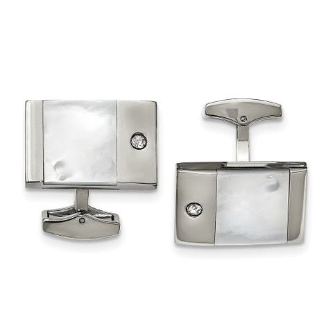 Chisel Stainless Steel Polished Mother of Pearl Cubic Zirconia Cuff Links